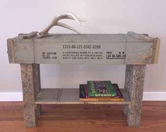 Wooden Ammo Box Table Vintage Military Furniture Repurposed Ammo Table Industrial Ammo Crate Table Man Cave Furniture