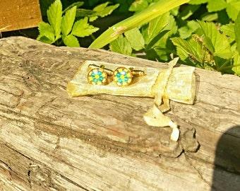 Green and yellow mosaic cufflinks, 12mm face, handmade.