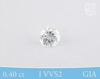Brilliant Round, GIA Certified Diamond, Post Consumer, I VVS2, 0.40 ct
