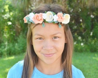 Felt flower crown headband - ivory, peach and whiteflowers