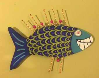 Wooden Painted Fish // Summer Home Decor // Door Hanger // Wooden Door Hanger // Fish Decor // Funky Fish Art
