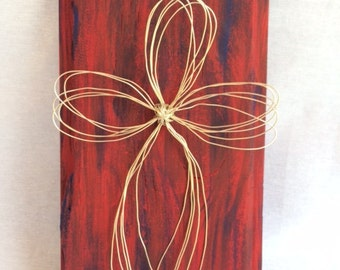Wooden Plaque With Wire Cross
