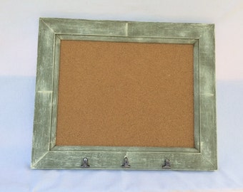 Green Framed Cork Board With Clips