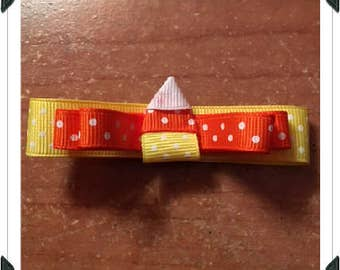 Candy Corn Ribbon Clippie