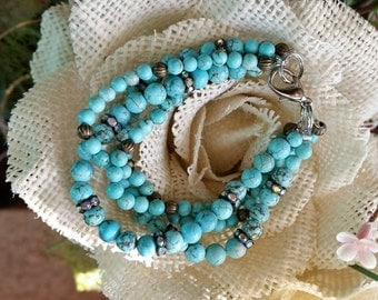Multi beaded bracelet with howlite stones