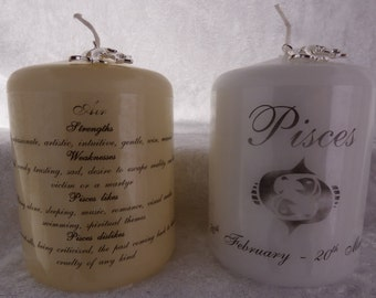 3 Inch - Zodiac Candle with Strengths, Weaknesses, Like & Dislikes - Pisces