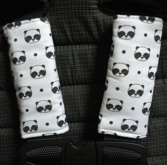 strap covers stroller car seat panda baby by 45delafabrique. Black Bedroom Furniture Sets. Home Design Ideas