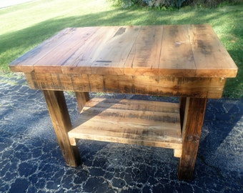Reclaimed wood Kitchen Island table made from 100 year old barn beams