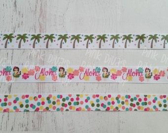 7/8 USD Tropical Ribbon - Aloha Ribbon - Palm Tree Ribbon - Confetti Dot Ribbon - USDR - Hawaiian Ribbon