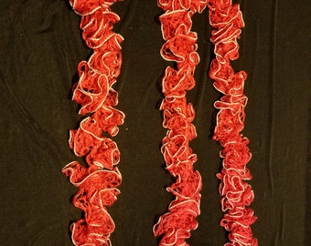 Red & Silver Ruffle Scarf (RS3010)