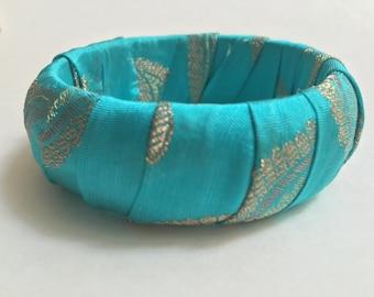 Sari Silk Bangle - Light Teal