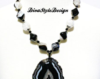 Black and White Banded Agate Statement Necklace