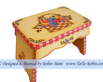 264 Pick of the Season Stool, Decorative Painting Pattern Packet, Instructions, Basket,Fruit Design, Pears,Oranges,Grapes,Cheeries,Apple DIY