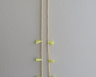 Yellow Tassel Necklace with Wooden Beads