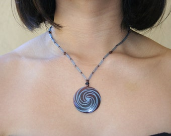 Necklace with Laser Etched Tab Shell Pendant