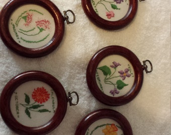 Homemade counted cross stitch ornaments