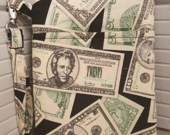 Adorable Money Print Phone Wristlet