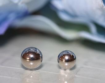 14K Solid White Gold Ball Stud Screw-Back Earrings (7mm/8mm) #S92875Valentines Gift