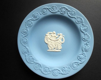 Wedgwood Blue Jasperware Dish/Plate - Three Dancing Ladies