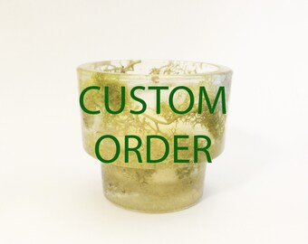 Custom Moss Candle Holder With Soy Wax Candle, Custom Wedding Table Decor