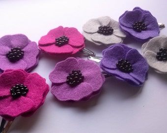 Purple Poppy hair clips for women, Anemone hair clips, Poppy hair accessory, Womens hair clips, poppy hair pins, lilac flower hair, set of 2