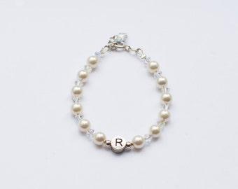 Personalised Name Bracelet in Swarovski Pearl & Crystal AB with Sterling Silver