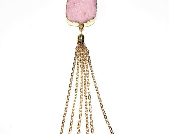 "Pink Druzy Pendant Necklace with 18"" Gold Chain and Tassel"