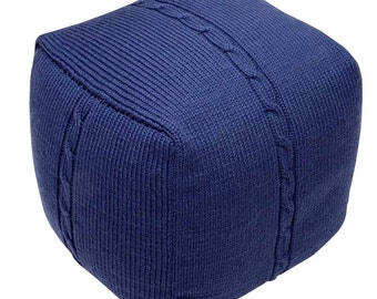 Hand Made Knitted Wool Pouf - Chunky Cable - Indigo