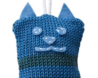 Hand Made Knitted Tiny Kitty Toy - Blue