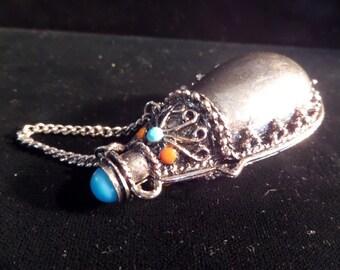 Vintage Blue & Orange Stone Silver Pendant