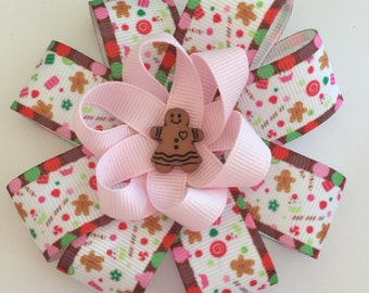Ginger bread Christmas hair bow