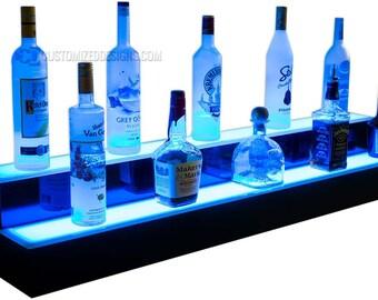 """48"""" 2 Tier LED Lighted Liquor Bottle Shelves - Free Shipping!"""