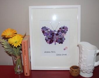 Personalized Butterfly Nursery Picture, Baby Shower Gift, Baby Girl, Button Art, Nursery Decor, Purple Butterfly, Girls Bedroom Art