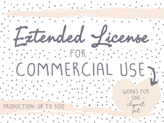 Extended License for commercial use, Production quantity up to 500, digital graphics, illustrations, clipart-set
