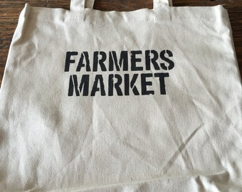 Hand stencilled Farmers Market tote bag