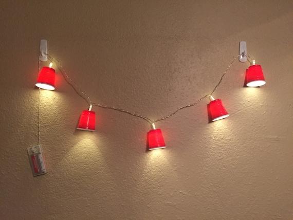 Mini red cups LED string lights by CubicleMates on Etsy