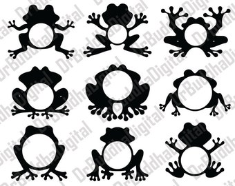 Frog Monogram Frame SVG Collection - Frogs Monogram Frame DXF - Frog Clipart - Svg Files for Silhouette Cameo or Cricut