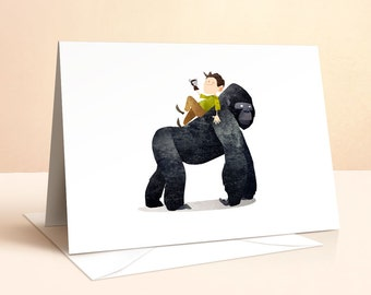 Wild Adventure - Gorilla Card | Birthday Card | Kids Birthday | Nursery Art | Greeting Cards | Gorilla Print | Gorilla Art | Art Card
