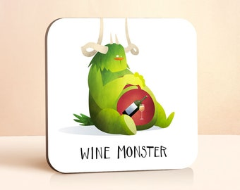 Wine Monster Coaster | Wine Coaster | Wine Lovers Gift | Cute | Gift for Him | Gift for Her | Wood Coaster | Funny Gift | Drink Coaster