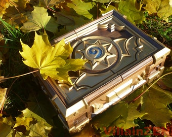 Hearthstone Box Replica 2017 Solid Walnut Free International Shipping Wood Carving Heroes of Warcraft Birthday Gift Blizzard Gold