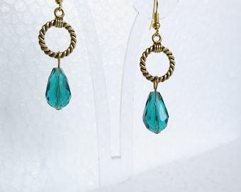 Hand made blue glass earrings