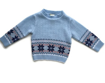 Vintage baby clothes, nordic boy sweater, ugly christmas sweater, blue fairisle snowflake 9-12 months