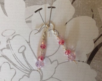 Pink Sparkly Swarovski Crystal Earrings