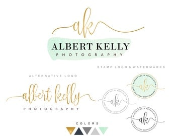 Branding kit, Premade logo design, Watermark, Submark, Gold and mint logo, Handwritten logo, Photography branding, Logo package, Logo set 09