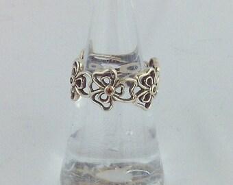Sterling Silver 925 Filgiree Promise Flower Band Ring size 6.5