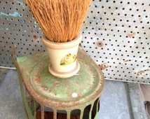 Petite BRUSH 1930's Decal 2 dogs at garden gate ***rustic green tin bike light cage to repurpose as candleholder...(SOLD SEPARATELY) charm