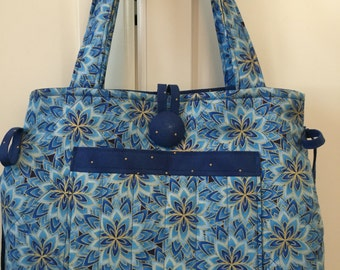 Purse-Quilted Blue Flowered Metallic