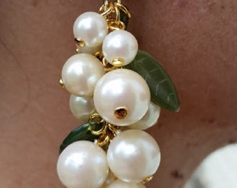 Grape Cluster Earrings Faux Pearls Off White