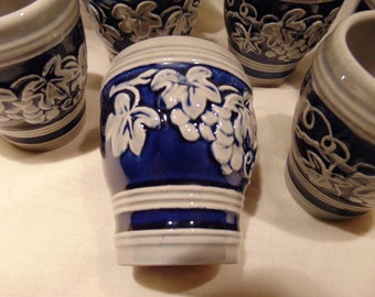 Vintage~German Stone Ware~Wine Cups~Grapes with Leaves~Blue~Retro German~Decoration~Wine~Glasses~