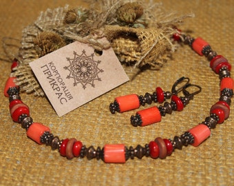 Terracotta coral necklace / Terracotta jewelry / Terracotta necklace / Coral necklace with earrings / Coral choker / Ukrainian coral jewelry